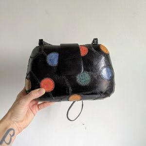 vintage 80s hard-sided leather polka dot crossbody